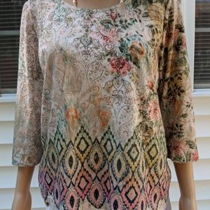 Chico's ladies size 2 blouse 3/4 sleeve multi colo
